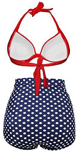 Alta A Costumi Vintage GOLDSTITCH Bagno Bikini Vita Dot Due Pezzi da Polka Red Donna Dot Polka qUwI4Y