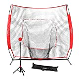 Pinty Baseball and Softball Practice Net 7'×7' Portable Hitting Batting Training Net with Carry Bag & Metal Frame + Baseball Softball Batting Tee (Baseball Net with Batting Tee(Red))