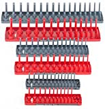 Hansen 6pc 1/4 3/8 1/2'' SAE Metric Sockets Trays Holders Set USA Tool Organizer TKT-11