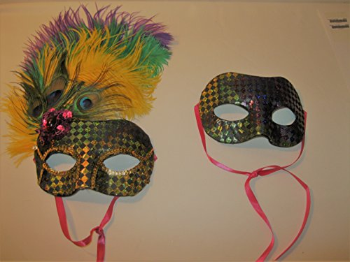 (Mardi Gras Male & Female Coordinating Masks with Ostrich Feathers and Sequins (2) (Purple Trim with Green, Gold, and Purple Feathers))