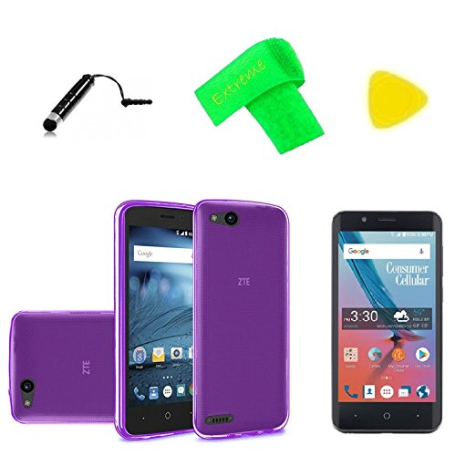 TPU Flexible Gel Skin Cover Phone Case + Screen Protector + Extreme Band + Stylus Pen + Pry Tool For Consumer Cellular ZTE Avid 557 (TPU Purple) ()