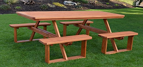 A&L Furniture 8' Amish-Made Rectangular Pressure-Treated Pine Walk-in Picnic Table with Benches, Pressure-Treated Pine Stain - Pressure Treated Table Picnic