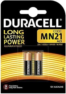Duracell MN21 - Pila alcalina 12V, diseñada para sistemas de seguridad, 2 unidades, 23a
