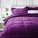 Dark Purple Comforter Sets Queen AmazonBasics Micromink Sherpa Comforter Set - Ultra-Soft, Fray-Resistant -  Full/Queen, Plum