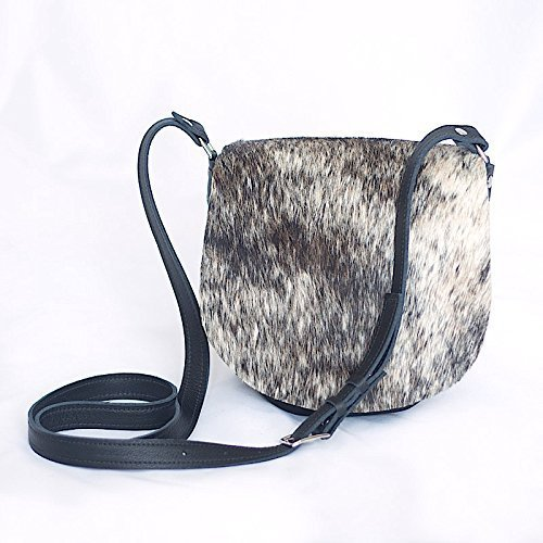 Cowhide Saddle Bag - Leather Cross Body Purse - Black Leather Handbag - Gray Brindle Hair on Hide Fur by Beaudin