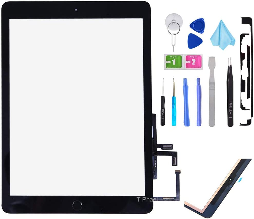 T Phael Black Digitizer Repair Kit for 2017 iPad 9.7(A1822, A1823) Touch Screen Digitizer Replacement with Home Button + Tools Kit + PreInstalled Adhesive