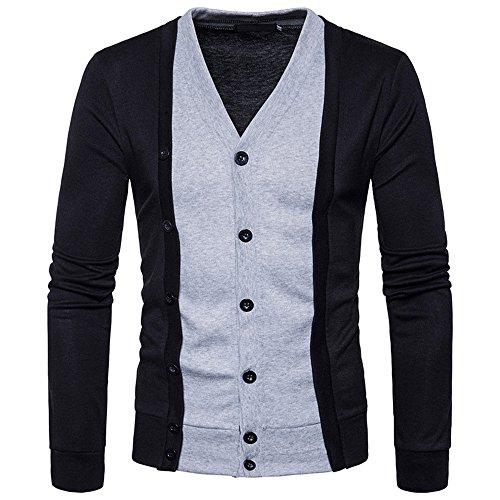 Dayseventh Uomo Manica Outwear Camicetta Felpa Slim Patchwork Fit Pulsante Lunga Nero UwqqnS6v