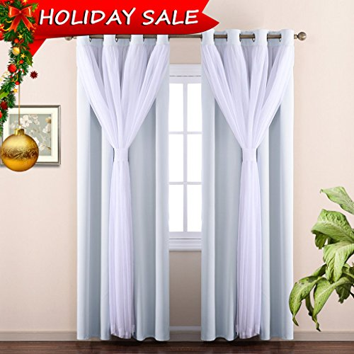 Double Panel Set (NICETOWN Stylish Mix & Match Elegance White Crushed Voile x Blackout Curtain With Bonus Tie-backs for Villa / Apartment, Princess Style Drapes (1 Pair of 2-Layers Panels, W52 x L84 inch, Platinum))