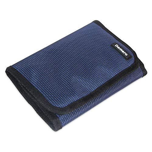 Damero Crochet Hooks Wrap, Organizer Bag with Zippered Web Pocket for Various Crochet Needles and Knitting Accessories, Well Made, Small Volume and Easy to Carry, Dark Blue (No Accessories Included)