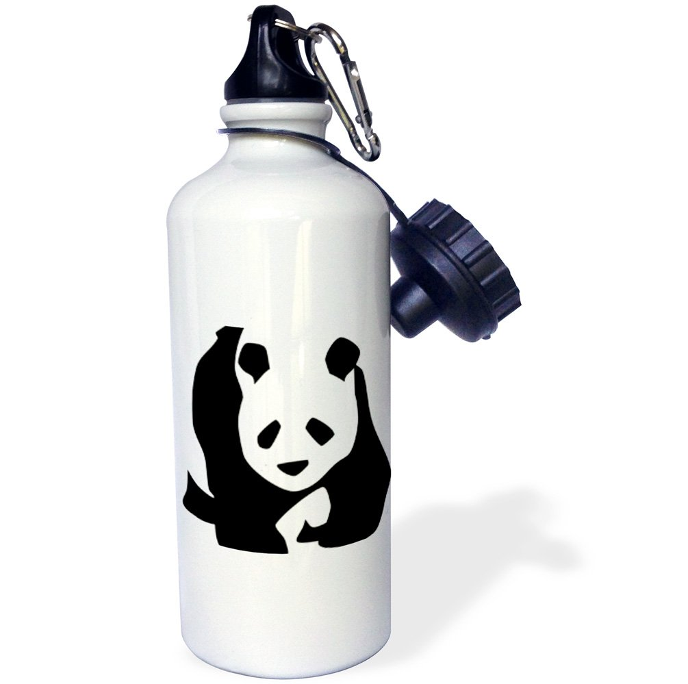 3dRose wb_51358_1 Panda Bear-Animals-Cute Art Sports Water Bottle, 21 oz, White