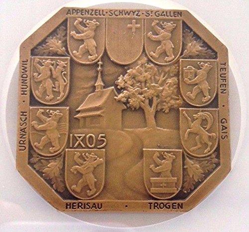 1936 CH Swiss Bronze Medal Shooting Fest Appenzell Stoss coin Good