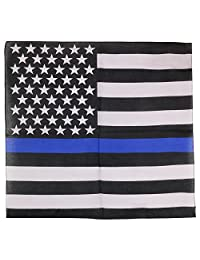 Thin Blue Line US American Flag Printed Bandana