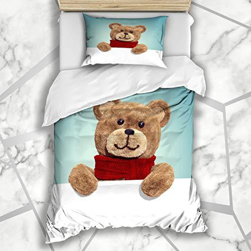 Ahawoso Duvet Cover Sets Twin 68X86 Baby Friendship Render Cute Vintage Teddy Christmas Bear Holidays Adorable Birthday Blank Microfiber Bedding with 1 Pillow Shams