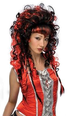 Black and Red Frighten Vamp Wig - Black/Red