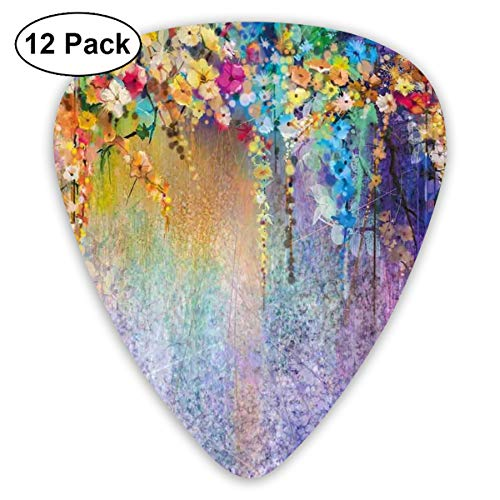 Celluloid Guitar Picks - 12 Pack,Abstract Art Colorful Designs,Abstract Herbs Weeds Alternative Medicine Blossoms Ivy Back Florets Shrubs Design Theme,For Bass Electric & Acoustic Guitars.