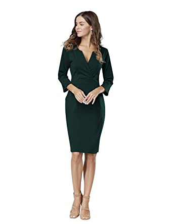 0bd5a510a1 HiQueen Women s Classic Vintage V Neck Formal Cocktail Dress with Pocket  (Dark Green ...