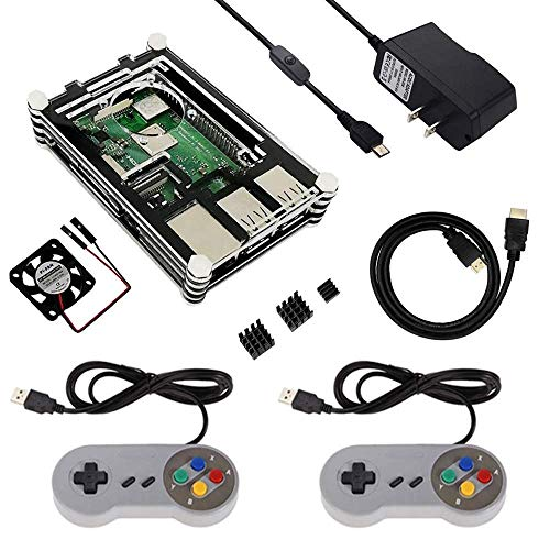 Etoput Raspberry Pi Retro Game Kit Case USB Controller 5V2 5A Power Supply  HeatSinks Fan HDMI Cable Raspberry Pi 3 B+/3B/2B