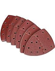60 Stks Schuurplaten, Muisschuurpapier Prio-Driehoek Schuurplaten, geschikt voor Bosch Multi-Sander PSM 100A PSM 200 AES PSM 18,11-Gaten Verschillende 40/60/80/120/180/240 Grits