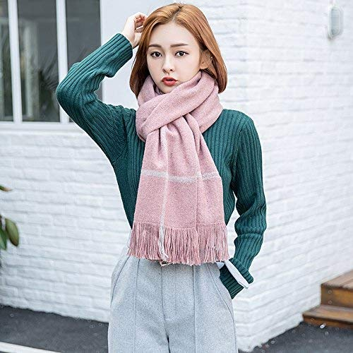 Womens Scarf Ladies Fashion Winter and Autumn Keep Warm Scarf Faddish Knitting Tassel Cappa Casual Wild for Women Pink