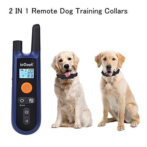 Dog Training Collars for 2 Dogs Remote Electronic Collar ieGeek Pet Trainer Shock Collars Rechargeable Waterproof E-Collar with Beep /Vibration /Shock Modes 330 Yards Range For Large/Medium/Small Dogs by ieGeek