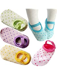 Toddler Anti Slip Socks 5 Pairs Baby Socks for 8-36 Months Infants Baby Girl Mary Jane No-Show Crew Boat Ankle Socks Footsocks sneakers