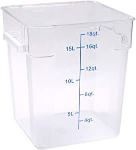 Met Lux 18 Quart Brine Bucket, 1 Square Marinating Container - With Volume Markers, Built-In Handles, Clear And Blue Plastic Dough Rising Bucket, Freezer-Safe, Lids Sold Separately
