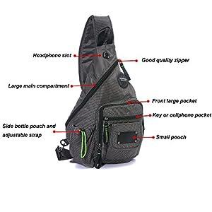 DDDH 13.3-Inch Sling Bag Riding Hiking Bag Single Shoulder Backpack For Men Women(Grey)