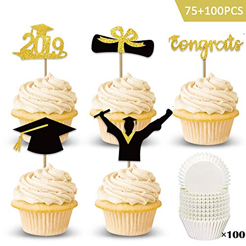 Haojiake 75pcs Gold Glittery 2019 Graduation Cupcake Toppers and 100pcs Baking Cups Food/Appetizer Picks For Graduation Party Cake Decoration Supplies -