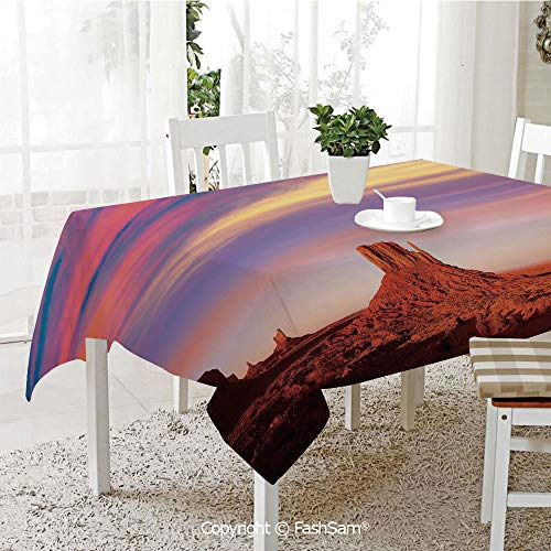 AmaUncle Premium Waterproof Table Cover Monument Valley West Mitten and Merrick Butte Sunset Utah Desert Resistant Table Toppers (W60 xL84)