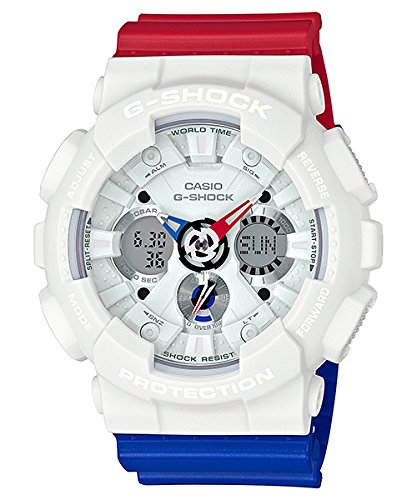 Casio G-Shock ga-120tr Tricolor Series ga120trm-7 a Reloj de cuarzo Analog/ Digital de resina de color blanco/rojo/azul: Casio: Amazon.es: Relojes