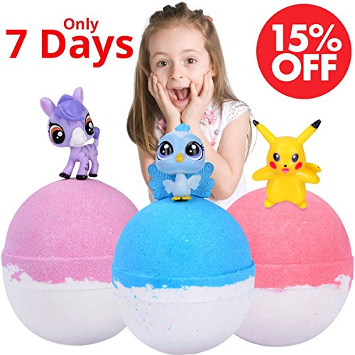 Kids Bath Bombs Gift Set for Kids with Surprise Toys Inside Great Home Bath Balls 3 x 5.3 oz Gender Neutral for boys & girls Organic Bath Fizzies