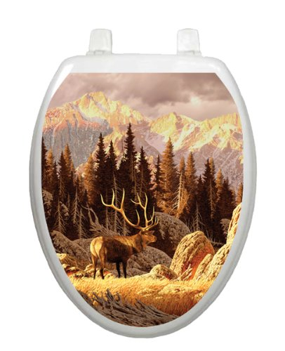 Elk Bull Toilet Tattoo TT-1027-O Elongated Hunting Outdoors Theme Cover Bathroom