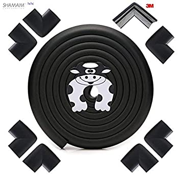 Edge /& Corner Guards Set Child Safety Baby Proofing Extra Long 20ft Coverage Incl 4 Pre-Taped Corners Black Furniture Edge Corner Bumper Guard Table Sharp Edges Protector