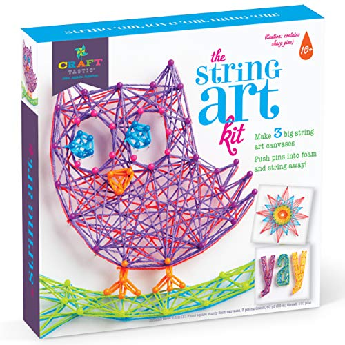 Craft-tastic - String Art Kit - Craft Kit Makes 3 Large String Art Canvases - Owl Edition (Christmas For Idea Craft)