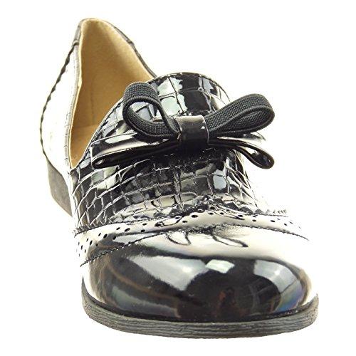 Sopily - Scarpe da Moda Mocassini alla caviglia donna pelle di serpente nodo verniciato perforato Tacco a blocco 2 CM - Nero