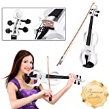 GC Global Direct Full Size Maple Silent Electric Violin Headphone Set w/ Case (Full Size, White)