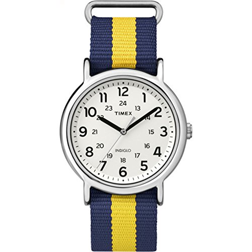Timex Unisex TW2P67700 Weekender Blue Yellow Stripe Nylon Slip-Thru Strap Watch