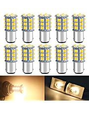 Qoope - Pack of 10 - Warm White 3000K 1142 BA15D LED Bulbs 5050 27-SMD Replacement Lamps for 12V Interior RV Camper Trailer Lighting Boat Yard Light Brake Tail Bulbs