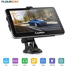 FLOUREON GPS Navigator 7.0 inch GPS Navigation System with Lifetime US/Canada/Mexico Maps Spoken Turn-by-Turn Directions Direct Access Driver Alerts for Car Vehicle Truck Taxi (Black)