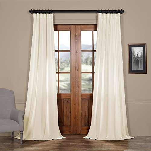 FELCH-SLWE1755-108 Faux Linen Semi Sheer Curtain, 50 x 108, Pale Bloom (Curtain Ivory Pole)