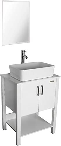 eclife 24 Bathroom Vanity Sink Combo White Cabinet Vanity White Ceramic Vessel Sink 1.5 GPM Water Save Chrome Bathroom Solid Brass Faucet and Pop Up Drain, W Mirror T03B12W