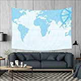 smallbeefly Map Customed Widened Tapestry Blue Grunge Background with Vintage World Map and Retro Compass Cartography Exploration Wall Hanging Tapestry 90''x60'' Light Blue