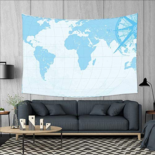 smallbeefly Map Customed Widened Tapestry Blue Grunge Background with Vintage World Map and Retro Compass Cartography Exploration Wall Hanging Tapestry 90''x60'' Light Blue by smallbeefly
