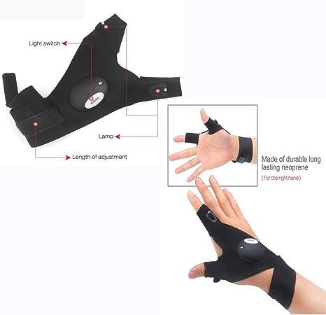 Rechte Hand Arbeiten in der Dunkelheit Orte und Outdoor-Aktivit/äten. NINGSANJIN LED Taschenlampe Fingerlose Handschuhe Camping LED Magic Strap Handschuhe mit 2 LED-Licht zum Angeln Reparieren