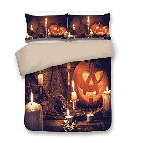 Duvet Cover Set,BACK Of Khaki,Halloween,Rustic Home Wooden Planks