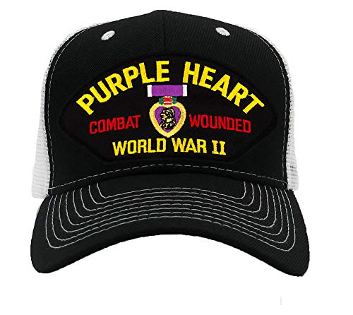 Patchtown WWII Purple Heart - Combat Wounded - World War II Hat/Ballcap Adjustable One Size Fits Most (Mesh-Back Black & White, Standard (No Flag))