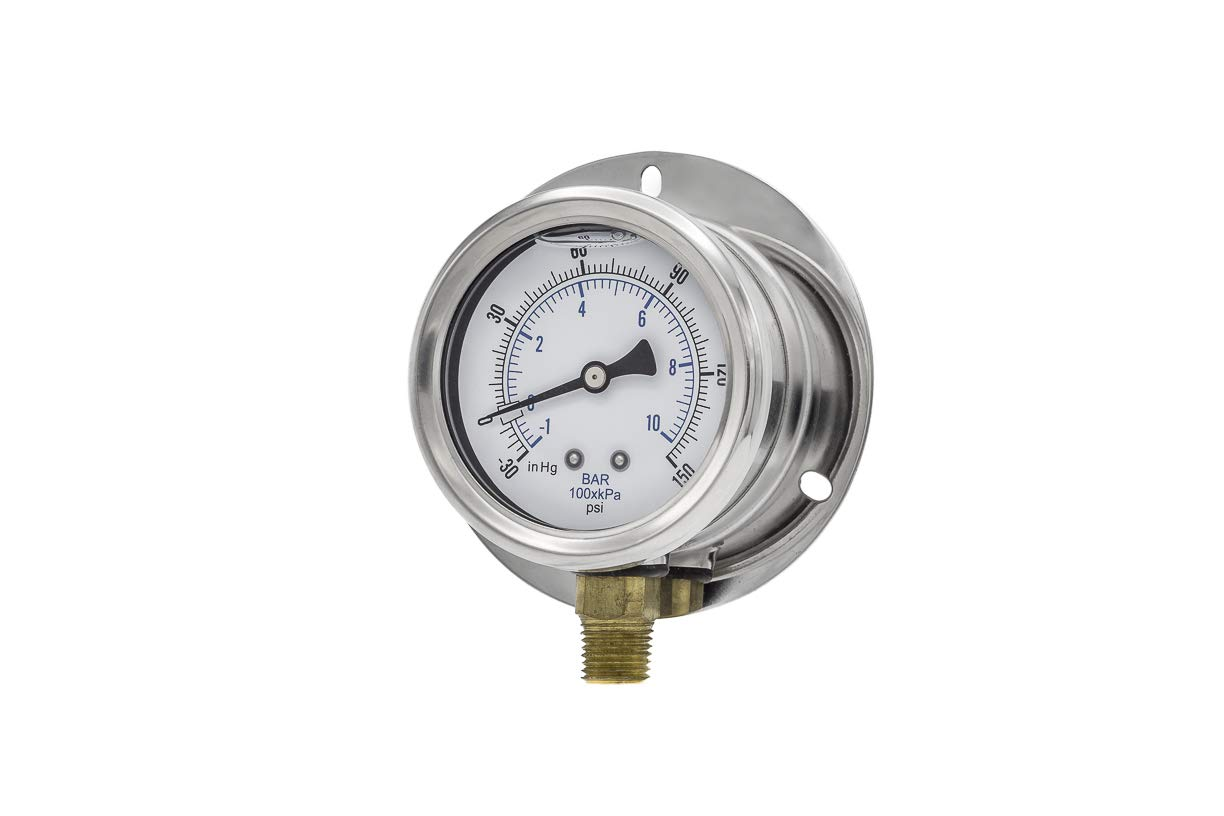 Stainless Steel Bezel 0//1500 psi Range PIC Gauge S201L-254N 2.5 Dial 1//4 Male NPT Connection Size and Polycarbonate Lens Bottom Mount Single Scale Glycerine Filled Pressure Gauge with a Stainless Steel Case Brass Internals