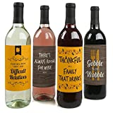 Gobble 'Til You Wobble - Thanksgiving Party Funny Wine Bottle Labels - Set of 4