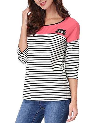 Allegra K Women's Color Block Paneled Piped Cat Prints Striped Tee XL Pink -