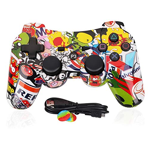 PS3 Controller Wireless Dualshock3 - OUBANG PS3 Remote,Best DS3 Joystick Gift for Kids Bluetooth Gaming Sixaxis Control Gamepad Game Accessories for PlayStation3 with Micro Cable (Street)